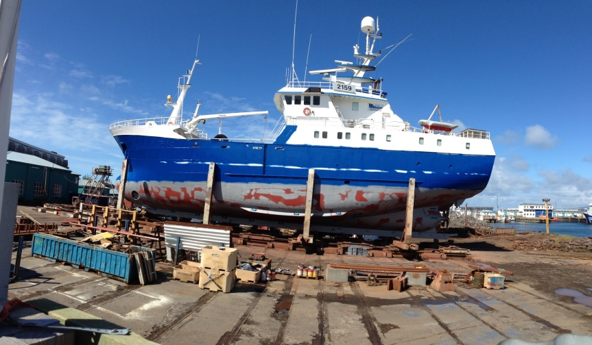 Fishing vessel in the yard.