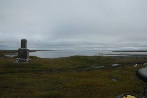 The first monument , looking out over the lagoon where the crash occurred.