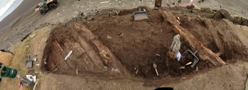 A view of the excavation.  NO, the wall was not curved; this is a raw iPhone panorama shot, & that happens.  Our walls are straighter than that!