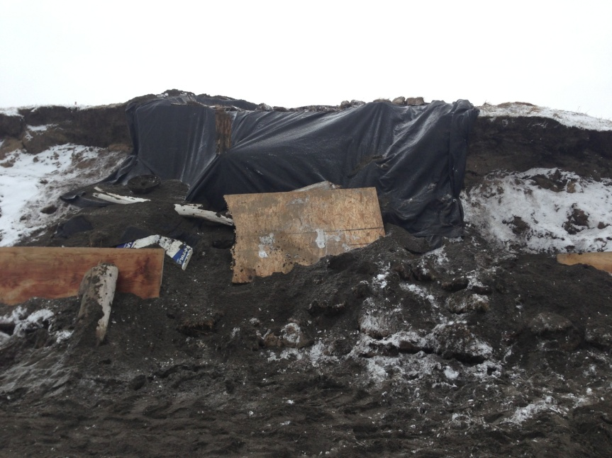 Protecting the site with particleboard, geotextile, sod and driftwood.