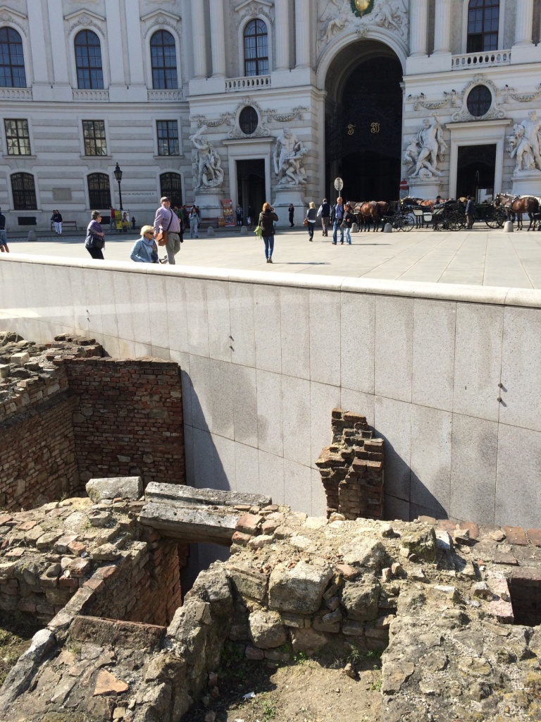 Archaeological site in Michaelerplatz. There are portions of a Roman road, Roman fortifications, and even 18th century apartments and drains exposed.
